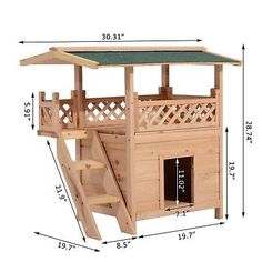 PawHut Indoor/Outdoor Wood Cat House Shelter with Roof -- More info could be found at the image url. (This is an affiliate link) Outdoor Cat Tree, Indoor Outdoor, Cat House Outdoor, Outside Cat House, Dog House With Porch, Outdoor Living, Canopy Outdoor, Outdoor Cat Shelter, Outdoor Shelters