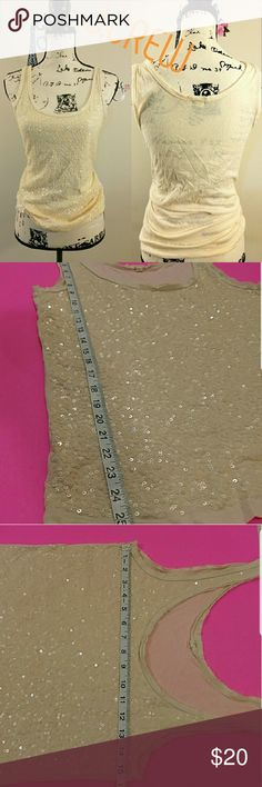 """J.CREW cream sequins tank top Gently used condition  Approximate Measurements Bust 15.5"""" length 25.5"""" J. Crew Tops Blouses"""