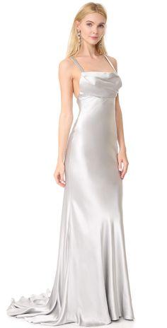 Monique Lhuillier Drape Front Gown   SHOPBOP