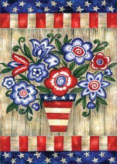 Toland Home Garden Patriotic Flowers Garden Flag 118228