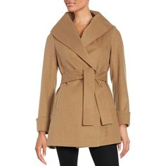 Trina By Trina Turk Belted Wool-Blend Coat ($228) ❤ liked on Polyvore featuring outerwear, coats, camel, fur-lined coats, trina turk coat, long sleeve coat, wool blend coat and trina turk