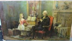 39-034-ANTIQUE-SIGNED-034-M-ALVAREZ-039-OIL-PAINTING-CANVAS-MAN-PLAYING-FLUTE-WOMAN-PIANO