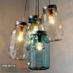 Cheap jars and bottles for cosmetics, Buy Quality jar lamp directly from China jar set Suppliers: 	Handcrafted Mason Jar Chandelier Modern Industrial lamp Ocean Sapphire Chandelier Bell Jar chandelier Middle Ages chand