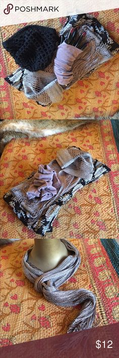 Awesome Chic Winter Accessories Bundle Really cute bundle of winter accessories. Crotched black skull hat, black & white floral print infinity scarf, gray & silver sparkly skinny scarf and lilac bamboo fingerless gloves. Wear them all together or separately with some your other fav accessories. Accessories Scarves & Wraps