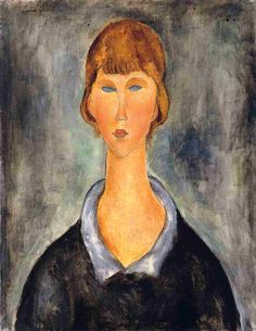 amedeo modigliani opere principali | ritratto di un giovane donna', olio di Amedeo Modigliani (1884-1920 ...