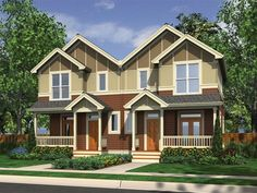 Multi-family house plan delivers comfortable living areas complete with fireplace, media center, and eating bar plus 3 bedrooms and baths per unit. Lake House Plans, Duplex House Plans, Family House Plans, Bedroom House Plans, Small House Plans, House Floor Plans, Home And Family, Small Modular Homes, Modular Home Plans