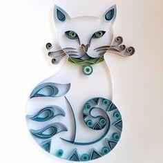 My name is Kitty, Blue Kitty. #QuillingByAslim #quilling #quilledpaperart #quilledart #paperart #papel #papier #paper #giftideas #gift #wallart #homedecor #art #handmade #artoftheday #blue #cat #kagittelkari #kedi #mavi #hediyelik #manualidades