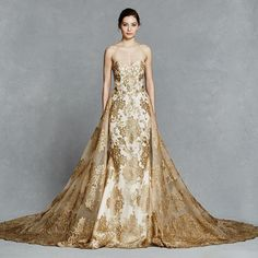 Gorgeous Gold Lace Wedding Dresses 2016 Sweetheart Backless Bridal Gown vestido de noiva Court train robe de mariage