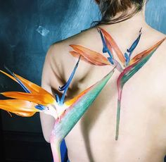 """One of the most interesting and lovely projects during my stay in Milan is strelitzia, or """"bird of paradise."""" I have never seen this flower in Ukraine and I love it soo much. It's a wonderful plant. As usual - no sketches and preparations, only Swallow Bird Tattoos, Tiny Bird Tattoos, Flower Tattoos, Leaf Tattoos, Tattoo Bird, Big Tattoo, Bird Of Paradise Tattoo, Birds Of Paradise Flower, Spine Tattoos"""