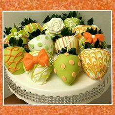 Green and orange chocolate covered strawberries