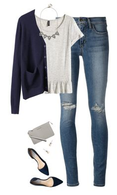 """Navy & Gray"" by steffiestaffie ❤ liked on Polyvore featuring Joe's Jeans, Cole Haan, H&M, Organic by John Patrick, J.Crew, BaubleBar and MICHAEL Michael Kors"
