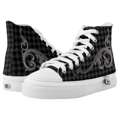 Goth Gray and Black Ornate Design Printed Shoes