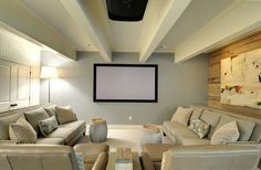 20 Contemporary Windowless Living Rooms   Home Design Lover; I like the movie feel set-up