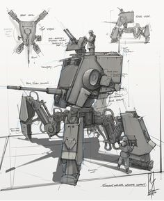 SCOUT WALKER CONCEPT! - ATST, Shane Molina on ArtStation at https://www.artstation.com/artwork/bzywv