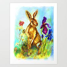 Hase auf der Wiese, Rabbit on the lawn. Art Print by Birgit - $12.48