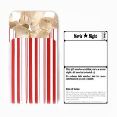 Movie Night. DIY Quality Time Gift Voucher. Instant Download.