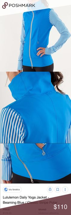 New! Authentic Lululemon Striped Jacket! Firm New! No pull tag! I purchased this a size 4 so I know the size! This is Brand New and never worn! $128 Plus ship. My price is more than a good deal! Posh takes %20 of my earnings! This jacket is medium thickness compression style and has good stretch! Fitted jacket! 2 front zipper pockets! 2 inner pockets that can fit phone! lululemon athletica Tops Sweatshirts & Hoodies