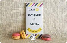Invitatia de nunta cutie cu ciocolata Happy stripes