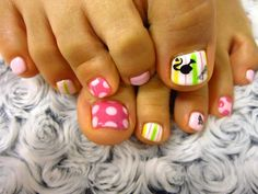 cute toe nails - without the Barbie stickers Cute Toe Nails, Cute Toes, Cute Nail Art, Love Nails, Fun Nails, Pretty Nails, Painted Toe Nails, Toe Nail Designs, Hair And Nails