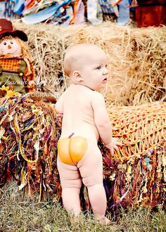"""Can't decide which is cuter... the butt or the expression! ;) """"I want my mom!"""" Baby Fall Blanket Large Photography Prop by BabyBirdz for Pumpkin Patch Mini Sessions"""