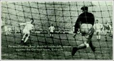 Real Madrid 7 E. Frankfurt 3 in May 1960 at Hampden Park. Ferenc Puskas scores a penalty in the European Cup Final.