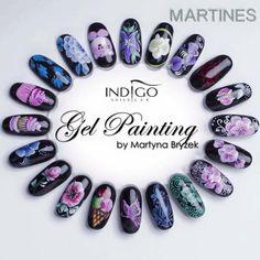 Wzornik pięknych zdobień od Martines Nails Stylist Indigo Educator Warszawa #nails #nail #winter #winternails  #NewYearseve #2016 #violet #flower #black #gelpainting