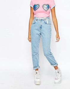 The Ragged Priest Mom Jeans with Goodie Patches