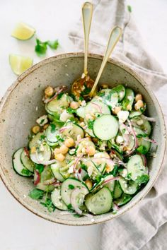 This Simple Cucumber Salad with Lime Vinaigrette is a perfect & easy side dish! … This Simple Cucumber Salad with Lime Vinaigrette is a perfect & easy side dish! Grab the ingredients from your garden or the store and enjoy! Easy Salads, Healthy Salads, Easy Meals, Healthy Eating, Dinner Healthy, Bbq Salads, Healthy Breakfasts, Healthy Drinks, Healthy Food