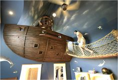 A pirate-themed bedroom with a jail and a secret escape hatch - so cool!