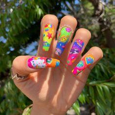Painted Nail Art, Acrylic Nail Art, Long Acrylic Nails, Hand Painted, Bright Nails, Funky Nails, Aycrlic Nails, Hair And Nails, Manicures