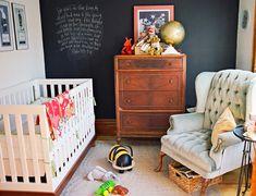 Gender Neutral nursery.  I just love these modern cribs!