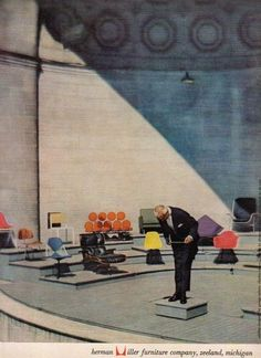 1958 Charles Eames Lounge Chair Marshmallow sofa etc pic Herman Miller print ad Furniture Ads, Vintage Furniture, Furniture Design, Herman Miller, Vintage Ads, Vintage Posters, Charles & Ray Eames, George Nelson, Mid Century Modern Furniture