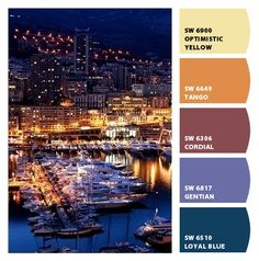 serene ships yachts night city lights blues golden yellows masculine cordial mauves maroon periwinkle branding scheme kitchen palette Paint colors from #ChipIt by #SherwinWilliams