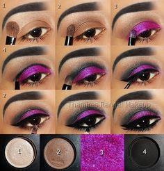 purple makeup tutorial - pictorial