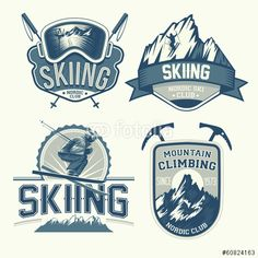 Vektor: Set of nordic skiing and mountaineering badges