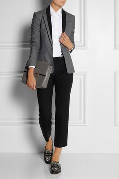 Theory|Donelly woven stretch blazer, Theory top, Miu Miu pants, Marc by Marc Jacobs shoes, and Maison Martin Margiela clutch.
