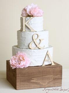 Personalized Wedding Cake Topper Wood Initials by braggingbags, $19.99                                                                                                                                                                                 More