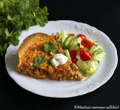 Maistuis varmaan sullekin!: Texmex-jauhelihapiirakka Tex Mex, Cheddar, Mozzarella, Eggs, Breakfast, Food, Morning Coffee, Meal, Cheddar Cheese