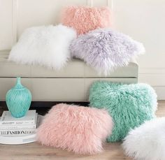 Exceptionally soft and dramatically gorgeous, our Mongolian Sheep Fur Pillow is the real thing, not faux. You can tell by the superb texture and natural fluffiness that it a lambskin cover. It a bit of glamour for any space, with the fun pop of co Cute Pillows, Fur Throw Pillows, Fluffy Pillows, Fur Pillow, Cotton Pillow, Colorful Throw Pillows, Neck Pillow, Room Ideias, Girls Bedroom