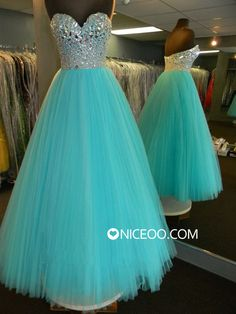 New Turquoise Sweetheart Floor Length Tulle prom dresses with Beaded Form http://www.niceoo.com/products/16634892-new-turquoise-sweetheart-floor-length-tulle-prom-dresses-with-beaded