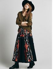 Free people FP One Roaring Twenties Maxi Skirt Size 10 Black Multi Msrp $128