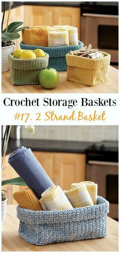 2 Strand Basket Crochet Free Pattern - Storage #Basket; Free #Crochet; Patterns