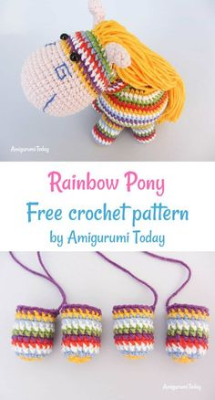 Crochet Rainbow Pony free crochet pattern by Amigurumi Today Crochet Doll Pattern, Crochet Patterns Amigurumi, Amigurumi Doll, Crochet Toys, Knitting Patterns, Crocheted Animals, Diy Art Projects, Weaving Projects, Crochet Projects