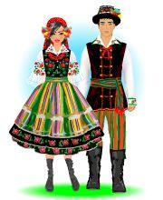 Strój łowicki Polish Clothing, Folk Clothing, Wedding Costumes, Dance Costumes, Ethnic Outfits, Ethnic Clothes, Polish Embroidery, Polish Folk Art, Tribal Dress
