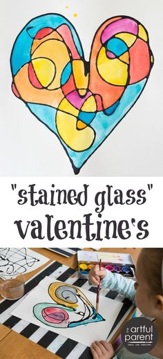 How to make faux stained glass Valentine's with black glue. Love these scribble art hearts!