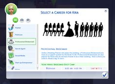 My latest creation, Professional Bridesmaid Career! There are 10 levels: Bridesmaid Boot Camp Therapy Training Financial Management Training Organizing RSVPs . Sims 4 Body Mods, Sims 4 Game Mods, Sims 4 Jobs, Die Sims 4 Packs, Sims Traits, Sims 4 Tattoos, Fifa, Sims Pets, Muebles Sims 4 Cc