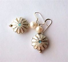 Spring Summer White Daisy Flower Enamel White Pearl Beaded Beadwork Earrings