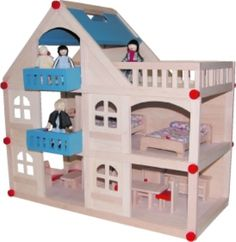 DOLL HOUSE 3-LEVEL OPEN PLAN   MATERIAL--WOOD  This Doll house comes with 17 pieces of Furniture & 4 Dolls.      This gorgeous OPEN PLAN 3 level wooden dolls house, is ideal for a boy or girl.     It is easy to carry around because it has a handle on top of the roof.     Comes with 17 pieces of furniture. Complete Bedroom, complete Lounge Room complete Kitchen & Dining Room, complete Bathroom     4 wooden dolls(bendable arms & legs).     Very good value in price and ideal as a gift.