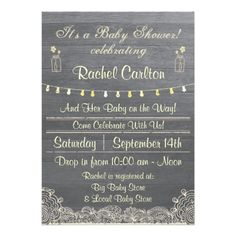 Rustic Mason Jar Baby Shower Invitation