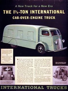 old international trucks | 1936 International Cab Over Engine C-300 Classic Vintage Print Ad